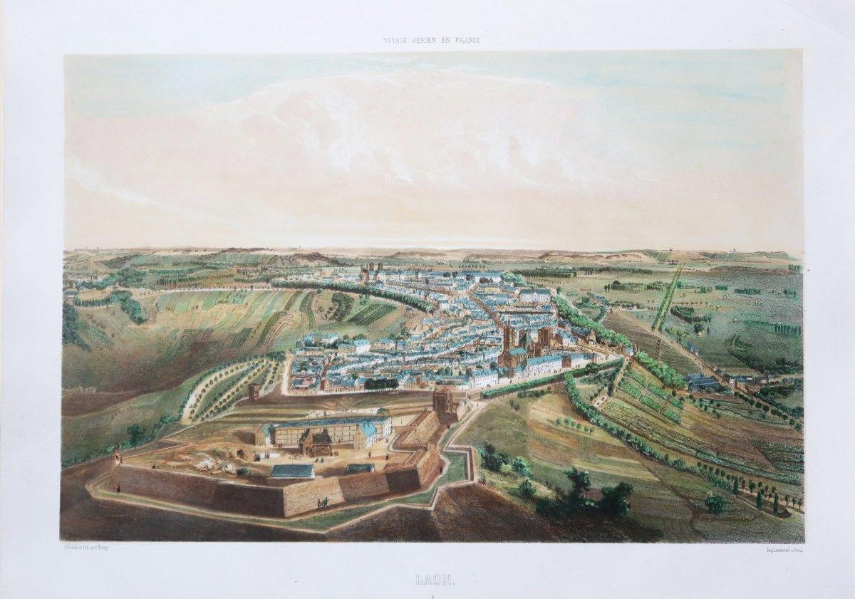 Gravure ancienne – Laon – Voyage Aérien en France