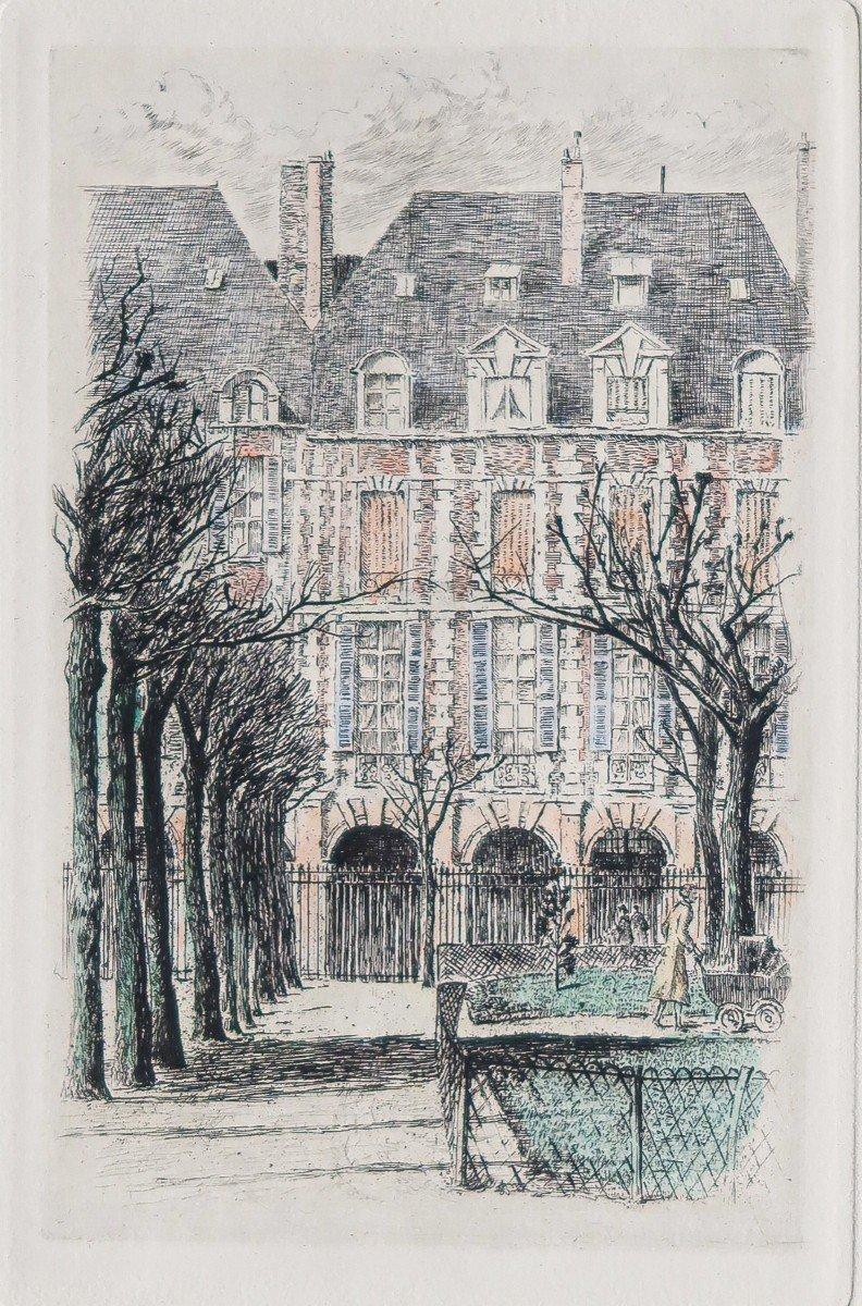 Place des Vosges - Paris - Gravure ancienne