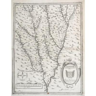 Old Geographical Map - Potamography Of Garone And Rivers That Go Within