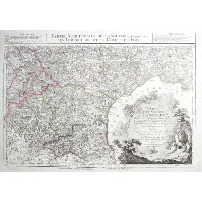 Carte géographique  ancienne  de la Province du Languedoc -  Roussillon - Foix