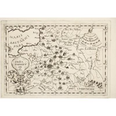 Carte ancienne – Paris – Île de France – Montecalerio cartographe – Originale antique map