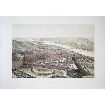 Old Engraving From Valence - View Taken From The Polygon - Air Travel In France