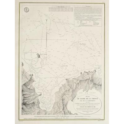 Carte marine ancienne de Martinique – Le Havre de la Trinité – Bourguignon Duperré