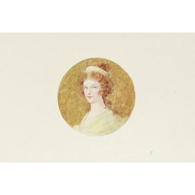 aquarelle originale – Médaillon – Année 1920 -1940