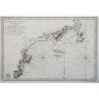 Old Marine Chart - The Gulf Of Napoule And The Gourjean Or The Gulf Of Jouan And The Islands