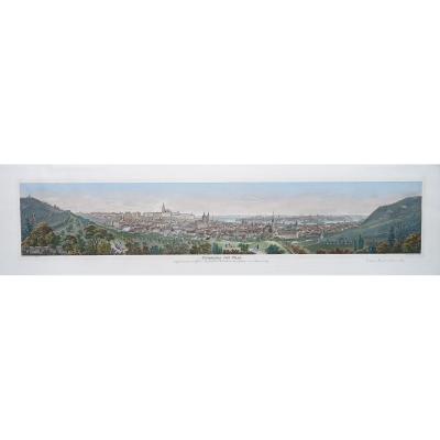 Gravure Ancienne - Panorama De Prague - Original Antique Engraving - Panorama Von Prag