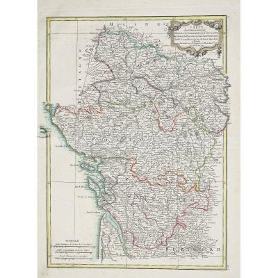 Carte géographique ancienne – Anjou & Saumurois & Poitou & Pays d'Aunis & Saintonge – Original antique map
