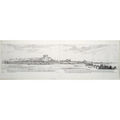 Panorama de la ville de Saumur – Mariette et Collignon auteur – Originale antique engraving