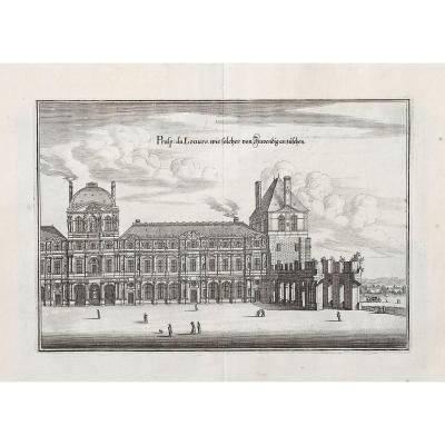 Gravure ancienne – Le Louvre – Paris