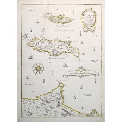 Old Nautical Chart Of Cannes, Tip Of Juan Les Pins - Mariette Cartographer