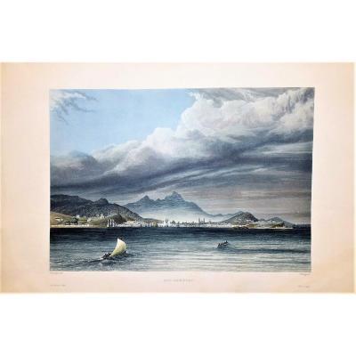 gravure ancienne de Rio de Janeiro – Voyage autour du Monde de Laplace