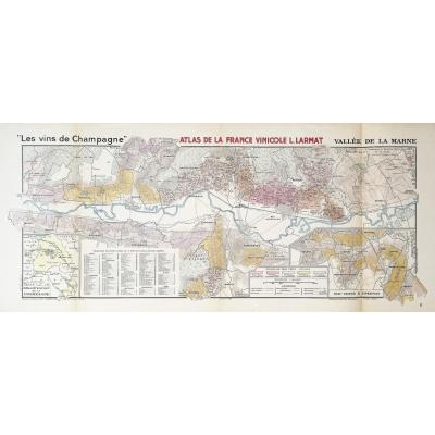 Carte géographique ancienne des vins Champagne