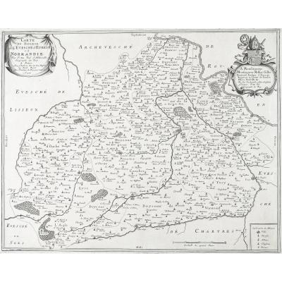 Diocèse d'Evreux - carte géographique ancienne
