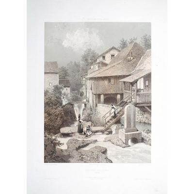 Savoie – Cascade de Grézi - gravure ancienne - Von Martens