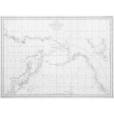 La Pérouse – Carte géographique ancienne des Côtes de l'Amérique & de l'Asie