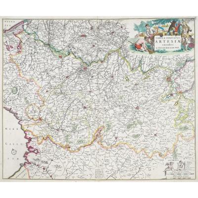 Carte géographique ancienne de l'Artois – De Witt cartographe