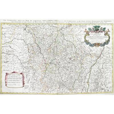 Grande Carte Géographique Ancienne  De Lorraine