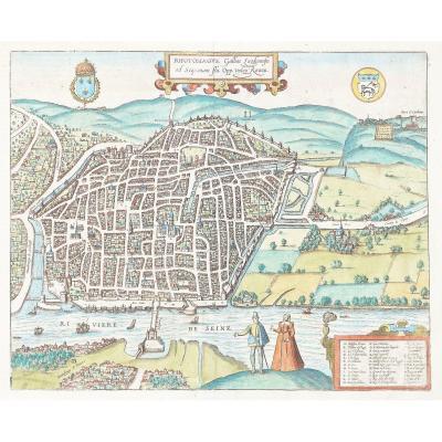 Plan ancien de Rouen – Braun & Hogenberg