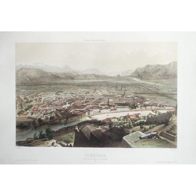 Gravure ancienne de Grenoble – Voyage Aérien en France
