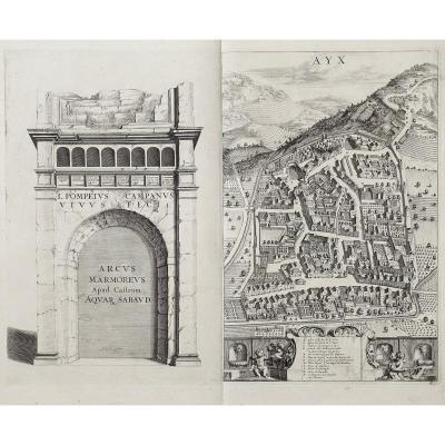 gravure ancienne d' Aix les bains  - Savoie