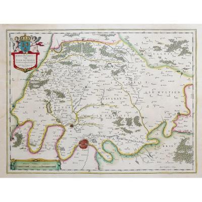 Carte géographique ancienne de L'île de France début  17ème siècle