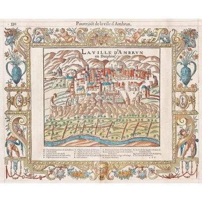 Gravure ancienne de la ville d'Embrun