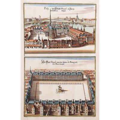 Gravure ancienne de la Sainte Chapelle et Place des Vosges