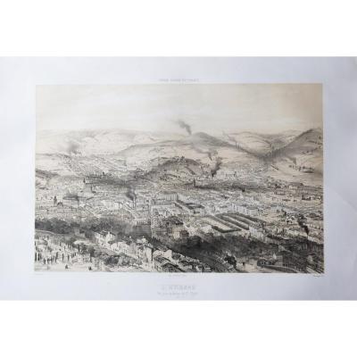Gravure ancienne – Saint-Etienne – Voyage Aérien en France