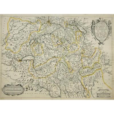 Carte Géographique Ancienne  De La Suisse