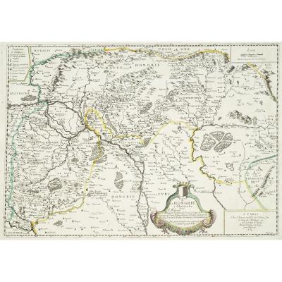 Carte géographique ancienne de la Hongrie à l'Autriche