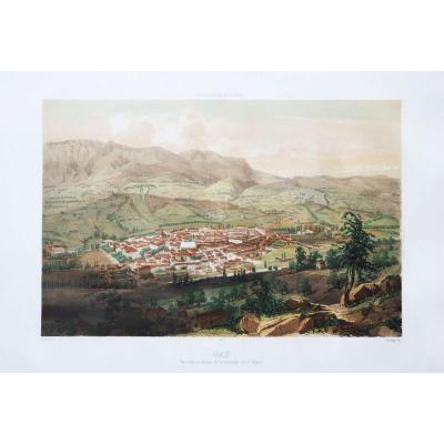 Gravure ancienne – Gap – St. Méens – Voyage Aérien en France