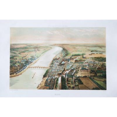 Gravure ancienne de Blois - Vue aérienne