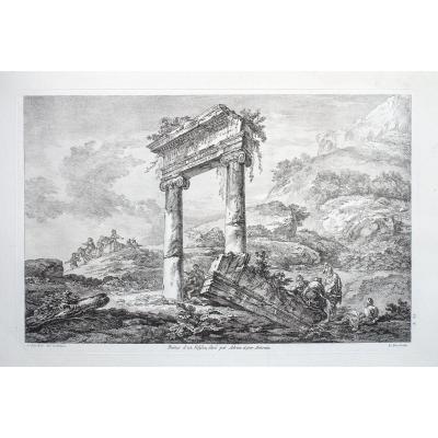 ruine d'un édifice en Grèce - gravure ancienne