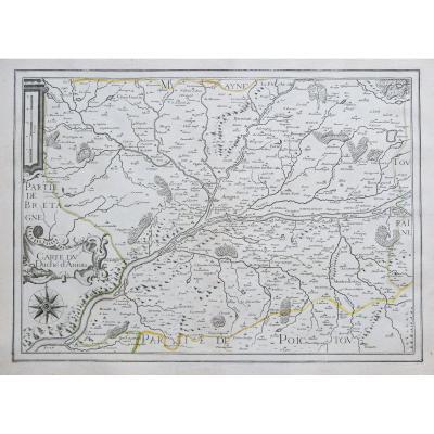 Carte Géographique Ancienne  Du Duché D'aniou Aniou