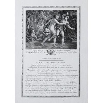 Gravure ancienne - Salmacis et Hermaphrodite – Mythologie