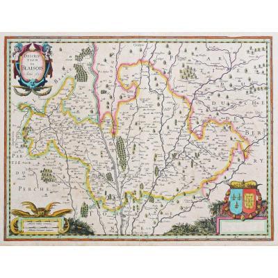 Carte géographique ancienne de la région de Blois