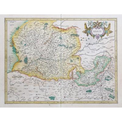 Carte géographique ancienne d'Anjou