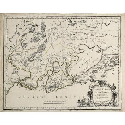 Carte géographique ancienne de la mer Noire
