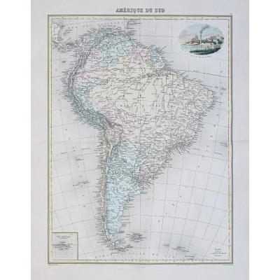 Ancient Geographic Map Of South America
