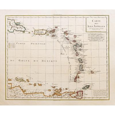 Ancient Geographic Map Of The Antilles
