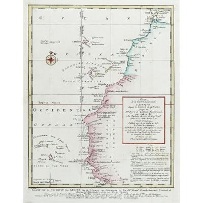 Carte Géographique Ancienne Du Détroit De Gibraltar – Iles Canaries – Cap Vert – Maroc