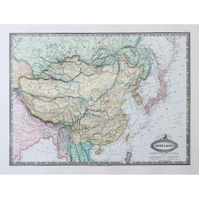 Carte géographique ancienne de la Corée - Japon - Chine