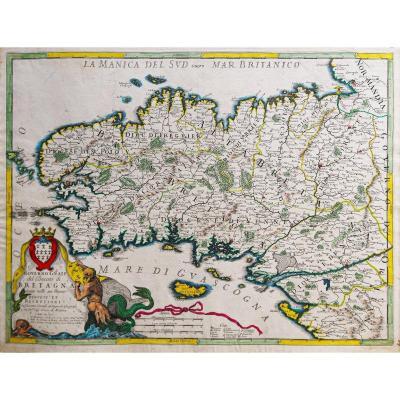 Carte Géographique Ancienne Du Gouvernement De Bretagne