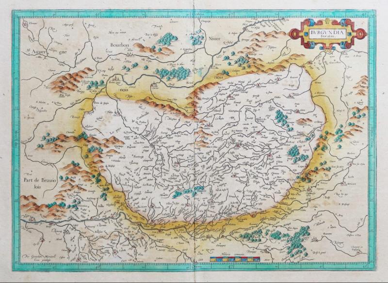 Carte Géographique Ancienne De La Bourgogne-photo-2