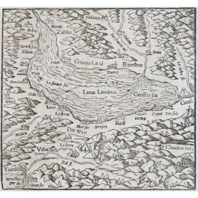 Gravure Ancienne Du Lac Léman