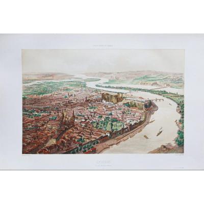 Gravure Ancienne d' Avignon – Voyage Aérien En France