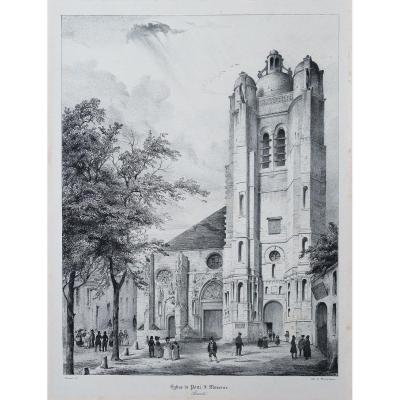 Gravure ancienne de Pont-Sainte-Maxence