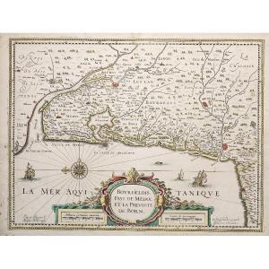 Carte Géographique Ancienne – Bordelais - Aquitaine- Guienne