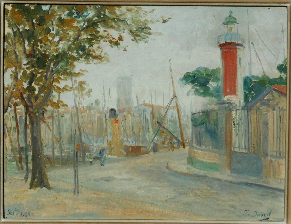 Léo DAVID(1864/1952) La Rochelle Phare d'Alignement du port
