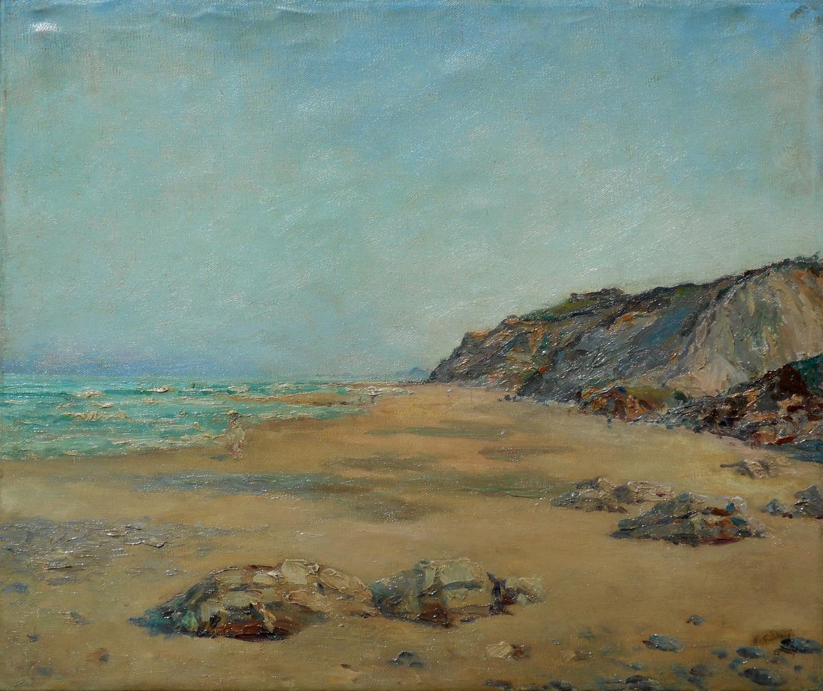 RICARDO CORCHON Y DIAQUE (Diaqué) 1863/1925 scène de plage